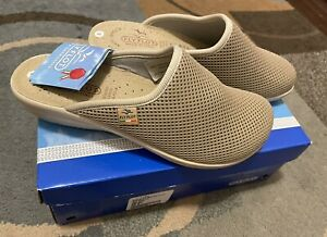 Fly Flot Clogs Leather Insoles Beige Fabric Italy Anatomic Anti Shock 38/8.New.