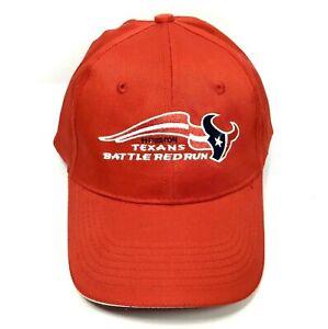 "New NFL HOUSTON TEXANS ""Battle Red Run"" Logo Baseball Cap Adjustable Hat SGA"