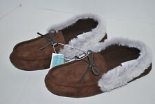 NWT OLD NAVY MOCCASIN FAUX FUR SLIPPERS for MEN DARK BROWN M L XL 7 8 9 10 11 12
