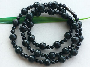 "Certified 100% Natural 20"" Black green 4-8mm Jadeite Beads Beaded necklace 9665"