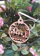 Happy 60th Birthday Wooden Gift Tag