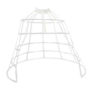Crinoline Costume Cage 5Hoop Skirt Petticoat Pannier Bustle Front Open White