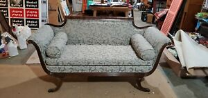 Antique Sofa With Carved Wood Frame