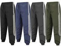 Mens Tracksuit Bottoms Striped Jogging Trousers Sport Gym Zip Pockets Size M-2XL