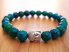 Handmade Semi Precious Stone Bracelet, Azurite Chrysocolla Beads & Silver Buddha