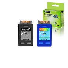 2PK For HP PSC 1110 1210 1310 2115 2510 2550 Ink Cartridge 56 57 C6656AN C6657AN