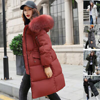 Winter Women long Down Cotton Parka Fur Collar Hooded Coat Quilted Jacket Nice