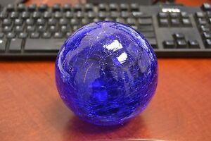"""REPRODUCTION COBALT BLUE GLASS FLOAT FISHING BALL WITH HOLE 3"""" F-454CH"""