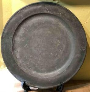 "Large Antique English Pewter Charger, 15"", George Grenfell, LONDON, c. 1757"