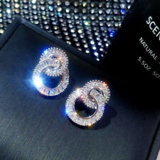 925 Silver Rhinestone Round Hoop Earrings Wedding Jewelry Boho Zircon Earrings