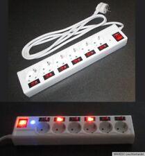 6-fach Steckdose Steckdosenleiste weiß einzeln schaltbar Blitzschutz beleuchtet