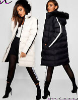 NEW WOMENS LADIES QUILTED WINTER COAT PUFFER FUR COLLAR HOODED JACKET PARKA HOPP