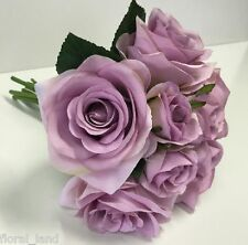 SILK WEDDING BOUQUET ARTIFICIAL ROSES DUSTY LAVENDER LILAC ROSE BOUQUETS FLOWERS