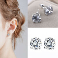 Elegant 925 Silver Stud Earring Women White Sapphire Wedding Jewelry Gifts UK