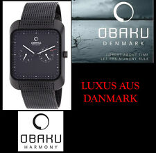 Designer Sporty Obaku Men's Wristwatch Black Stainless Steel v145ubbmb with