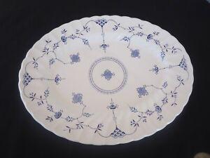 vintage myott finlandia large oval platter blue & white churchill