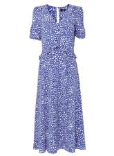 Brand New Ladies Ex Wallis Blue white Pebble Spot Print Midi Maxi Dress Size 8-2