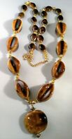 Vintage Long Glass Bead Necklace Pendant Tigers Eye Brown 1970's Dress Up Outfit