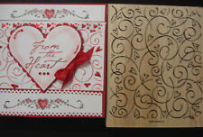 Stampin Up BACKGROUND LARGE rubber stamp HEARTS SWIRLS - LOADS OF LOVE HERE