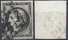FRANCE TIMBRE TYPE CÉRÈS N°3a NOIR / BLANC OBLITÉRATION GRILLE DE 1849 COTE 70€