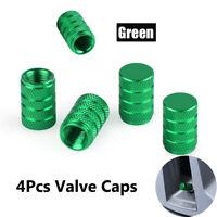 4 x Aluminum Piston Tire/Rim Valve/Wheel Air Port Dust Cover Stem Cap/Caps Green