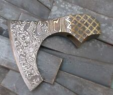 Custom Hand Made Moqen's Damascus steel Axe Head with brass inlay