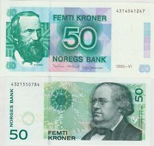 More details for p42f 1995 & p46c 2005 norway 50 kroner banknotes in near mint condition
