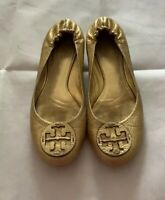 TORY BURCH REVA LEATHER BALLET FLATS - GOLD - SIZE 9.5 M