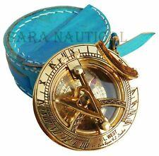 Vintage F.L. West Brass Sundial Compass Unique Leather Case Collectible item