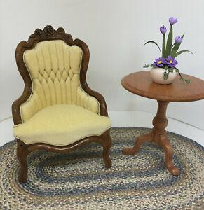 **Leonetta Miniature Dollhouse Victorian Chair~Cream/Yellow Velveteen~!* 1:12