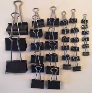 Binder Paper Clips Spring Clips triangular shape silver arms black 33 pre-owned
