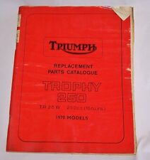 TRIUMPH REPLACEMENT PARTS CATALOG 1970 TROPHY 250 TR25W FACTORY MANUAL TR 25 W