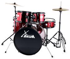 """XDrum Rookie 22"""" Schlagzeug Drum Kit Hocker Becken Stativ Schule DVD Set Rot"""