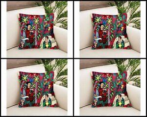 4 PC's Indian Frida Khalo Cushion Cover Home Decorative Sofa Pillow Covers 24x24