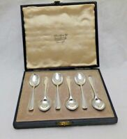 Vintage Sterling Solid Silver Cased Set Small Coffee Spoons 1944 (1239-C-LNY)