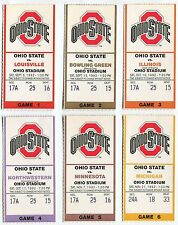 College Football Ticket Ohio State Buckeyes 1992 Home Game Set Michigan