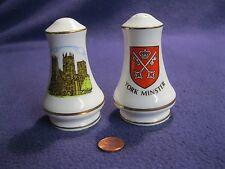 York Minster Cathedral Gold Painted Salt and Pepper Shakers Sheer Elegance 62