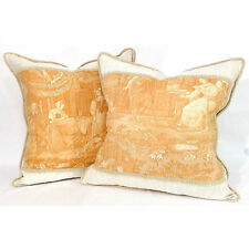 "Pair Vintage French Caramel-Orange Toile 20"" Throw Pillows w/Braided Trim [$750]"