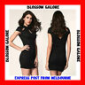 Sz 10 12 14 Sexy Black Cap Sleeve Bodycon Cocktail Party Wear Floral Dress Slim