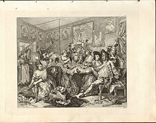 1818 HOGARTH GEORGIAN COPPER ENGRAVING ~ A RAKE'S PROGRESS ~ Plate 3