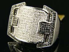 10K MENS WHITE GOLD BLACK/WHITE XL DIAMOND RING 1.40 CT