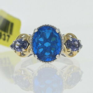 Silver Quartz Triplet & Iolite Ring - 925 Gold Plated Oval Cut 3.20ctw