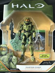 Halo Action Figure Master Chief with Assault Rifle World Of Halo In Game Add Ons