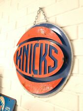 "New York Knicks Retro Distressed Metal 14"" Round Logo Sign - Vintage Looking"