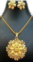 22K Gold Plated Indian Designer Necklace chain earrings pendant party bridal o