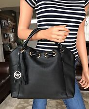 MICHAEL KORS EW LEATHER RING TOTE SHOULDER BAG HOBO PURSE BLACK NWT