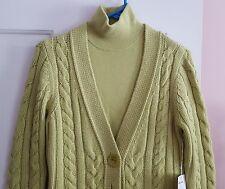 NEW Carlisle Soft Green Cashmere Dress & Cable Knit Sweater Jacket Medium M NWT