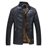 2018 New Mens Winter Fleece Lined Leather Jacket Biker Coat Warm Outwear L-6XL