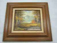 Original Framed Oil Painting Landscape Mountains Forest Stream Signed Rathman