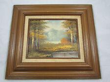 Original Framed Oil Painting Landscape Mountains Forest Stream Signed Rathman